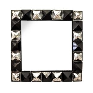Pair of black and silver diamond cut Murano glass Mirrors
