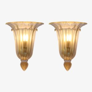 Pair of Mid century Gold and clear glass