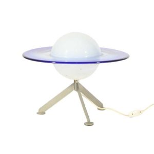 blue and white Murano glass table lamp