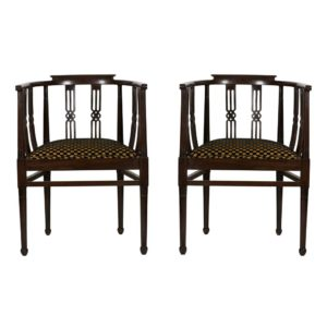 Pair 1930s Side Chairs Curved Back Dark