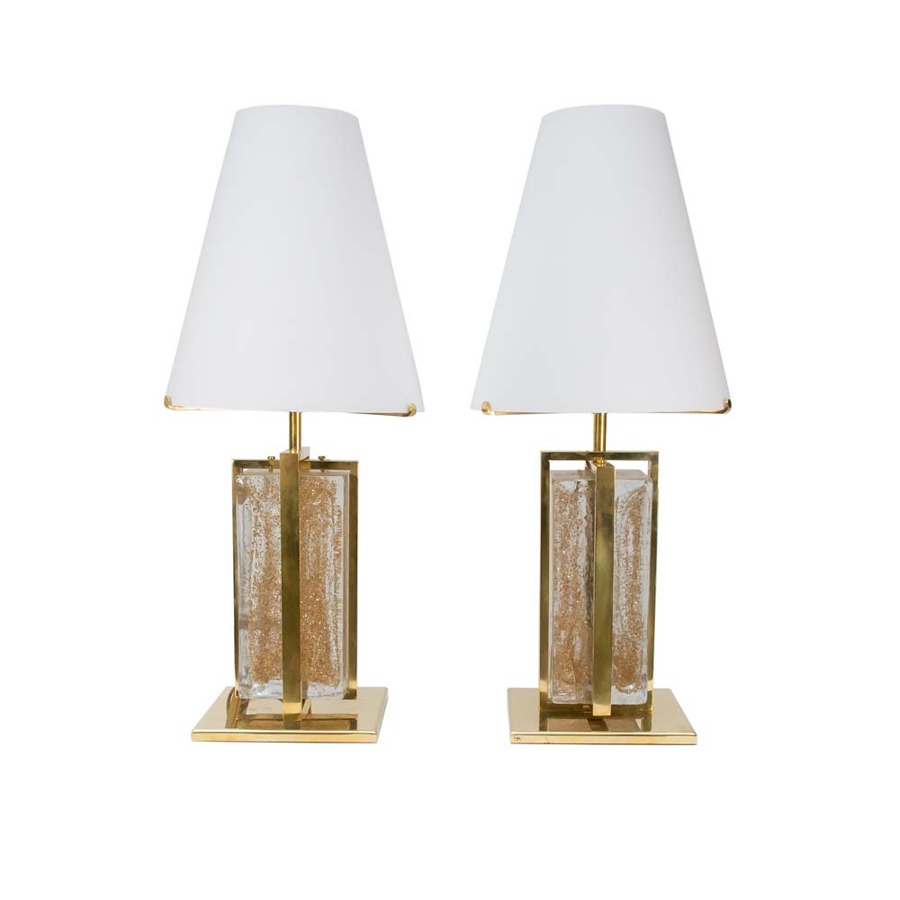 Pair of Gold brass Murano glass lamps