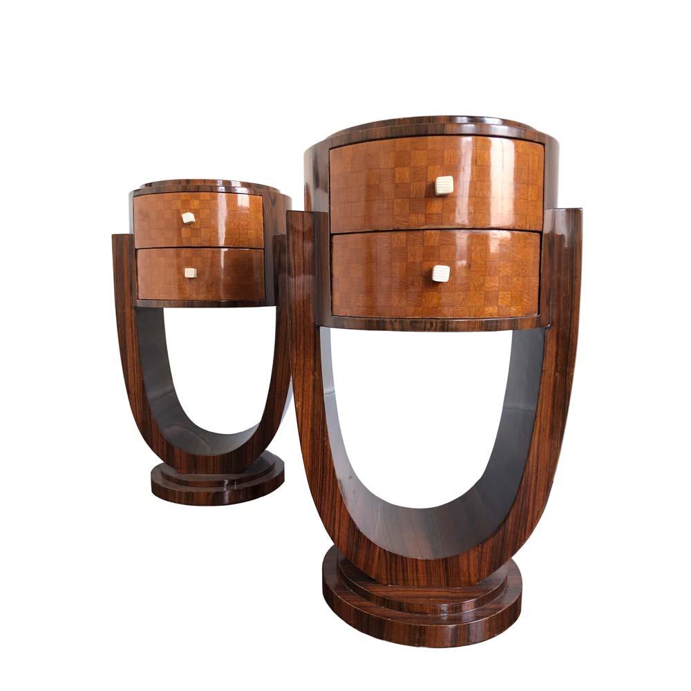 1940s Pair of Art Deco bedside tables in Coromandel wood laminate