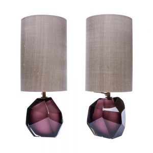 Faceted Murano glass table lamps