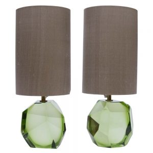 green faced Murano glass table lamps