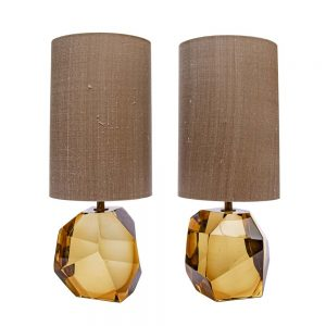 Murano faced glass table lamps