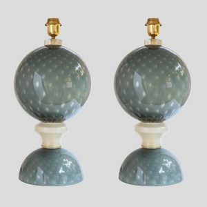Pair of table lamps blown grey Murano glass