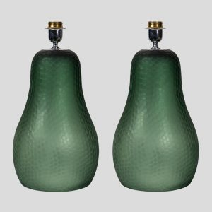 Olive green pear shaped Murano table lamps