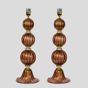 Pair of table lamp with 3 sphere purple and gold inclusion