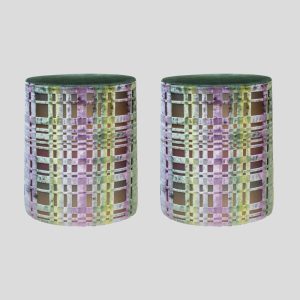 Pair of Italian design stools patterned fabric