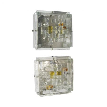 Pair of brutalist wall lights by Poliarte
