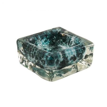 Mid-century green colur Blown glass Murano ashtray