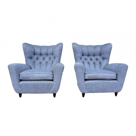 Pair of wing chairs by Paolo Buffa