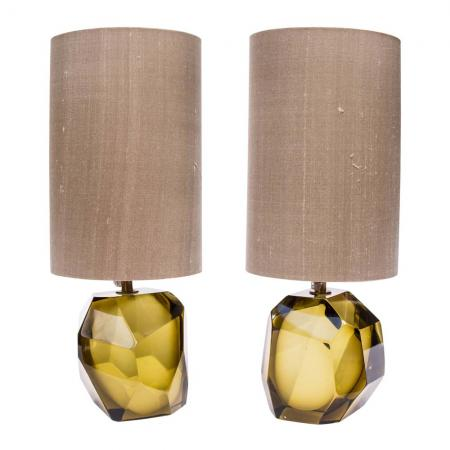 faced Murano glass table lamps
