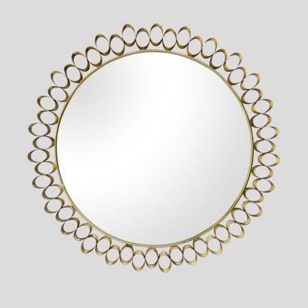 Round sculptural brass midcentury style mirror
