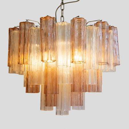 Pink and Clear Tubi chandelier