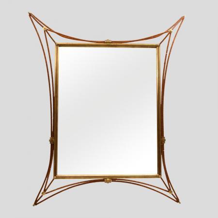 1960s wrought metal frame mirror